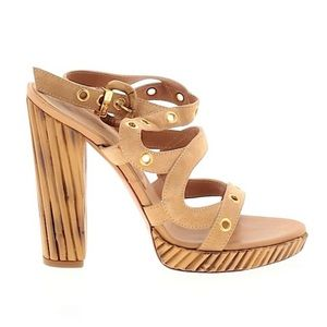 Casadei ♔ Bamboo Heel Platform Sandal ♔ Sand Suede